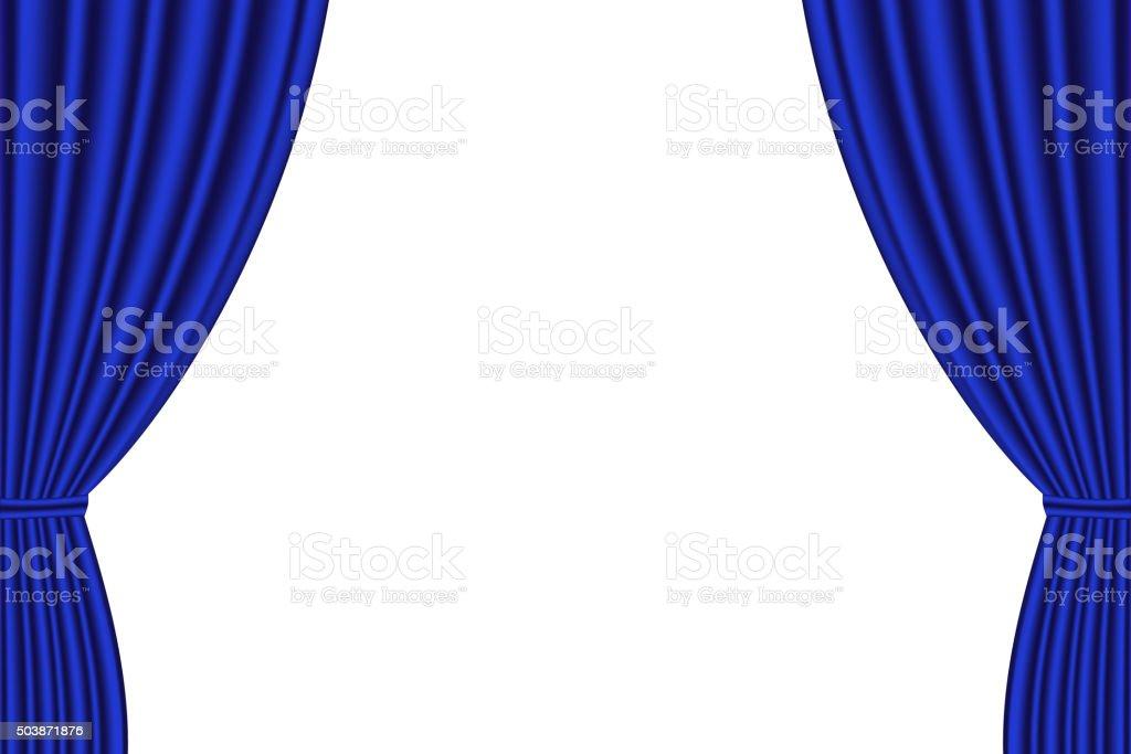 Blue curtain opened on  white background. vector art illustration