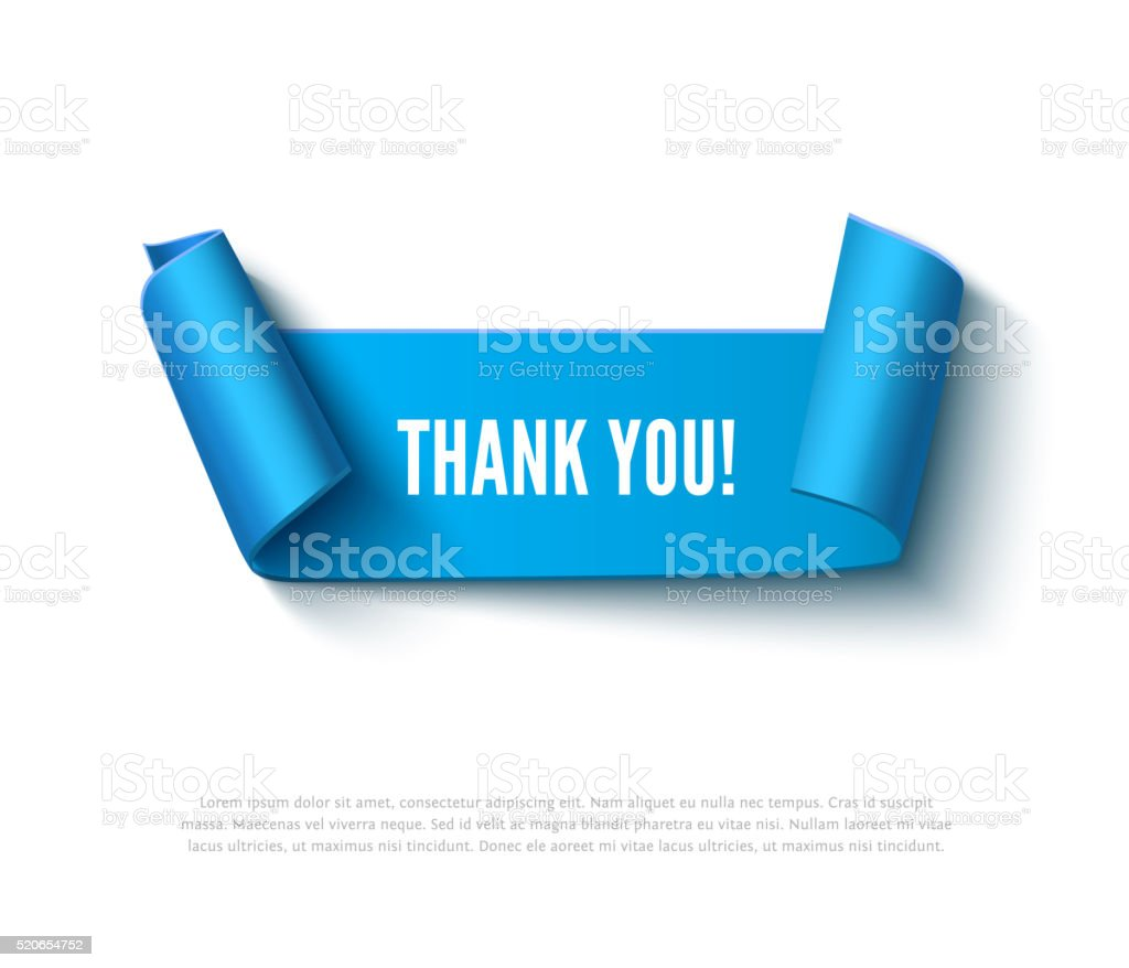 Blue curved paper banner with rolls, inscription THANK YOU. Realistic vector art illustration