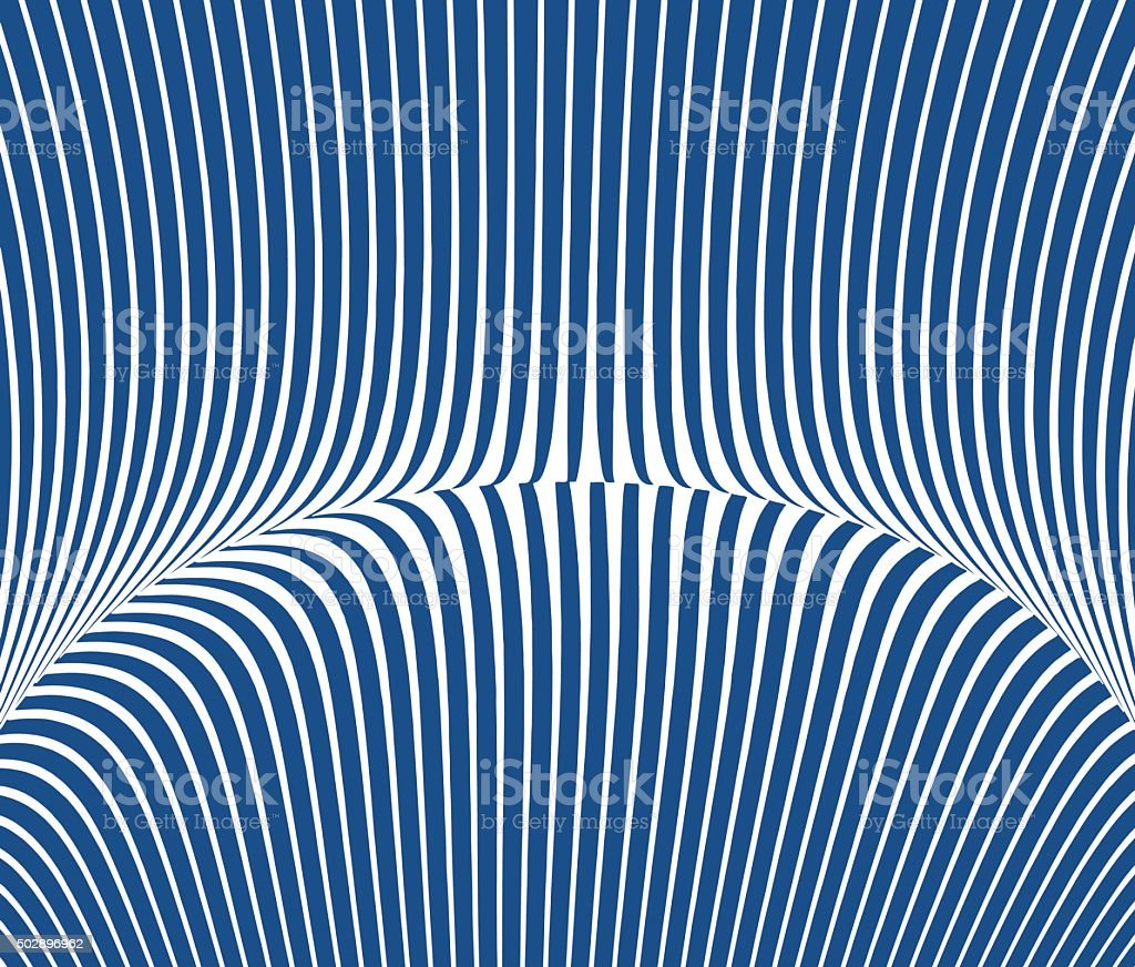 Blue Curved Striped Halftone Pattern Suggesting Cyberspace vector art illustration