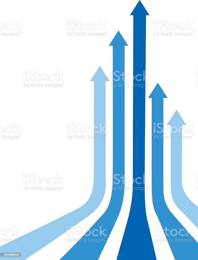 Blue Curved Up Arrows vector art illustration