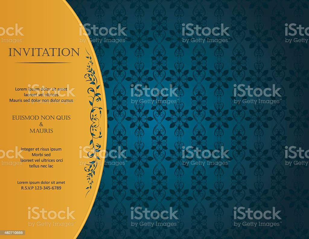 Blue Damask Background With Pattern And Frame royalty-free stock vector art