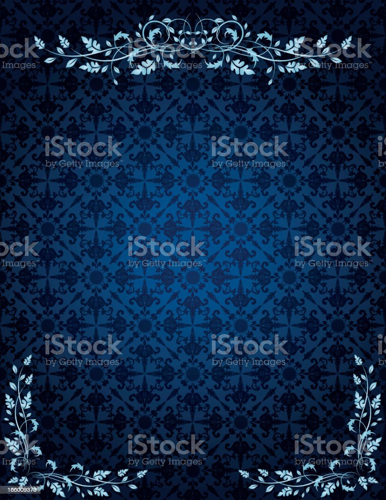 Blue Damask Pattern With Calligraphic Scrolls royalty-free stock vector art