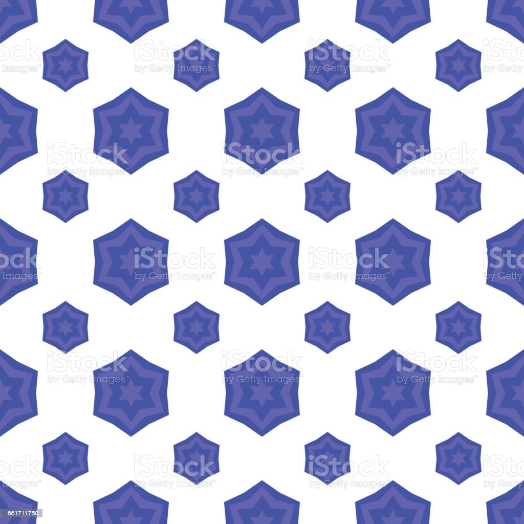 Blue David Star Seamless Background. Jewish Symbol of Religion