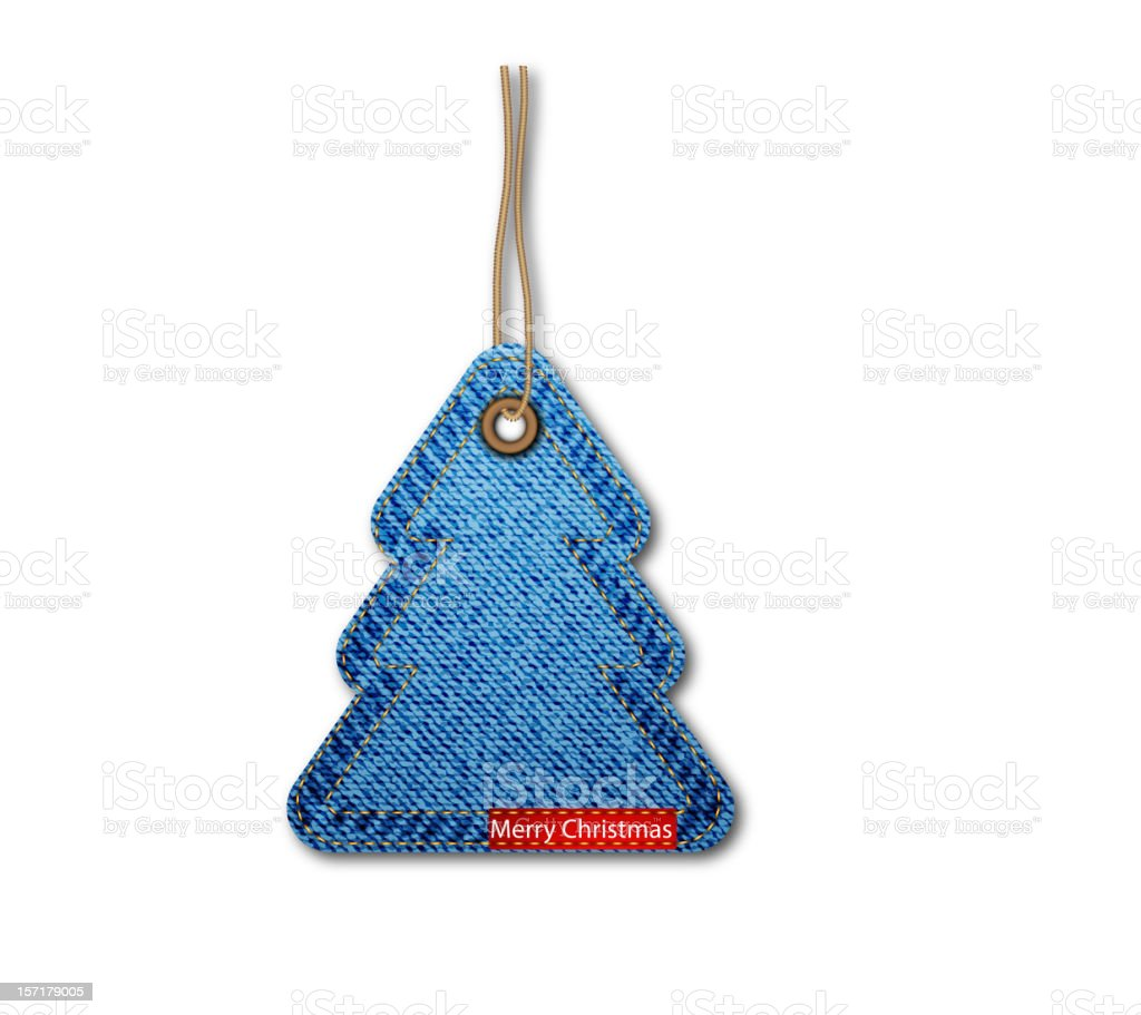 Blue denim Christmas tree keychain/ornament royalty-free stock vector art