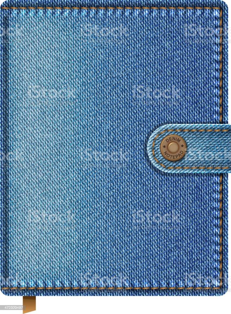 Blue denim notebook royalty-free stock vector art