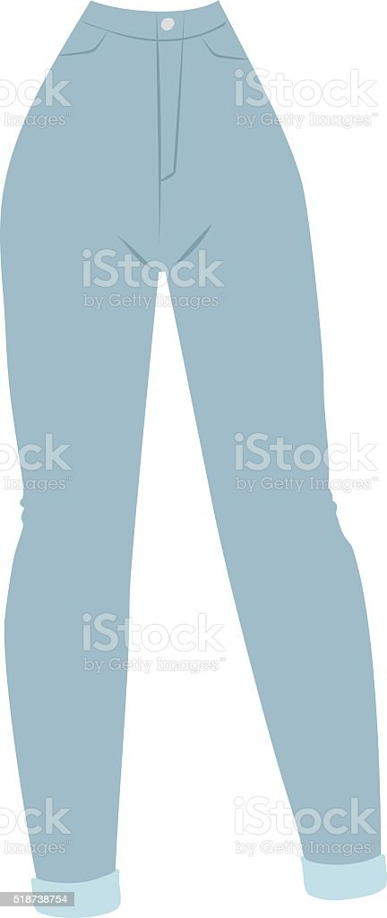 Blue denim women's jeans glamour clothing style casual fabric vector art illustration