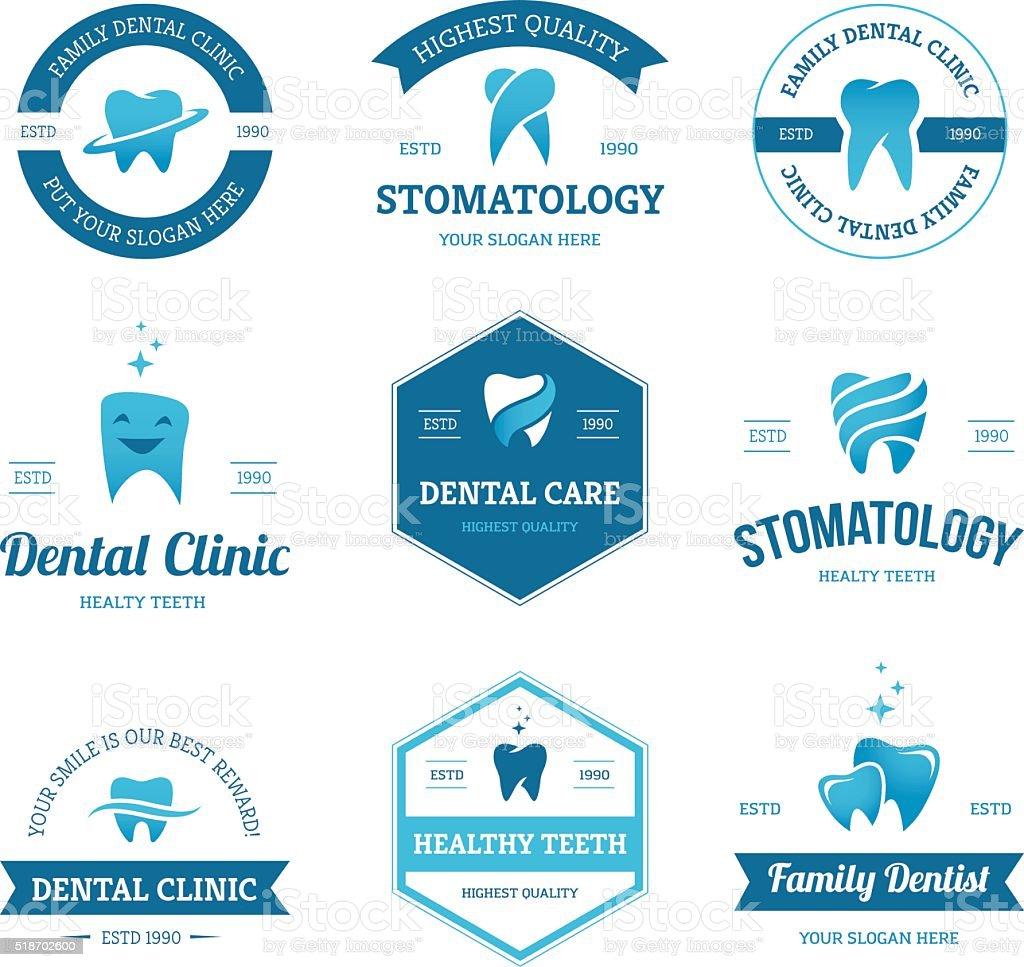 Blue dental labels vector art illustration