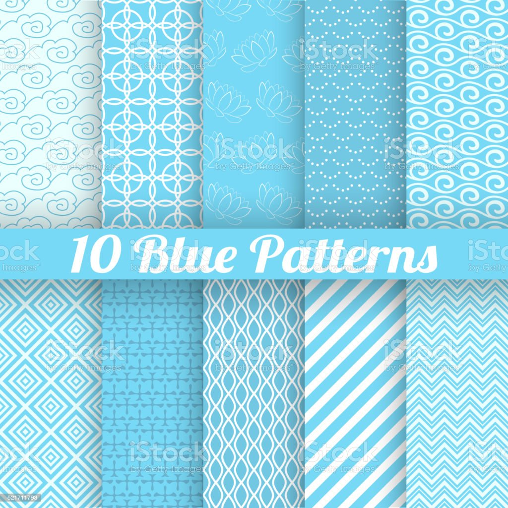 Blue different seamless patterns vector art illustration