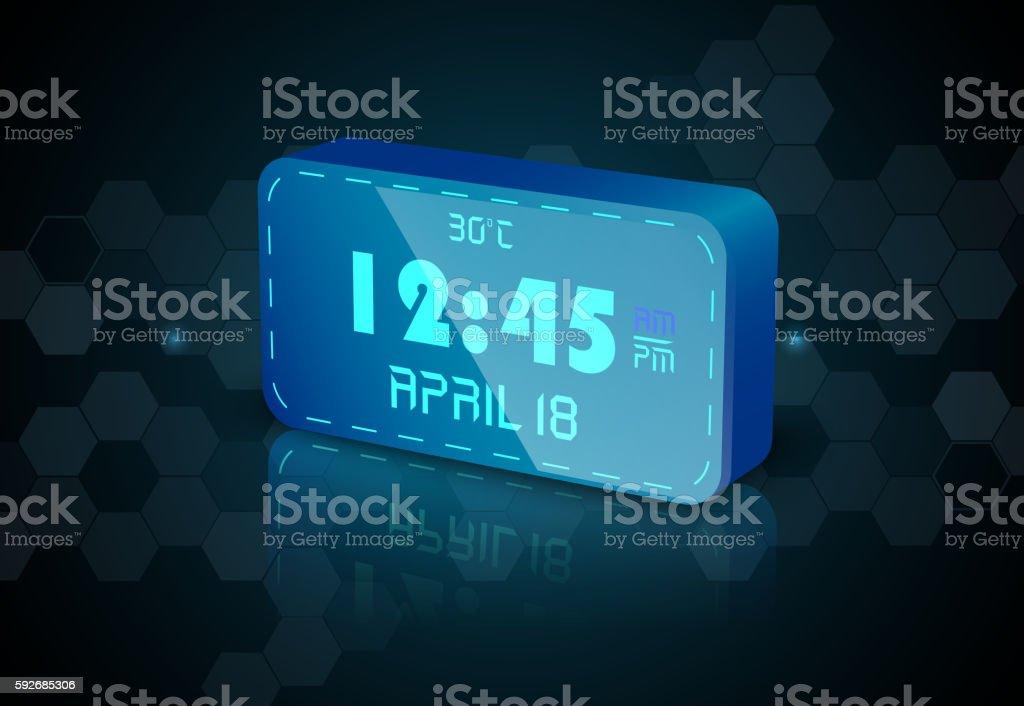 Blue digital Clock vector art illustration