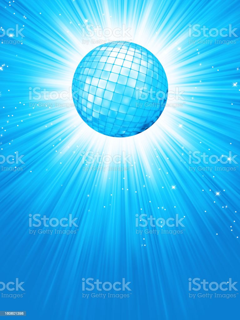 Blue disco rays with stars. EPS 8 royalty-free stock vector art