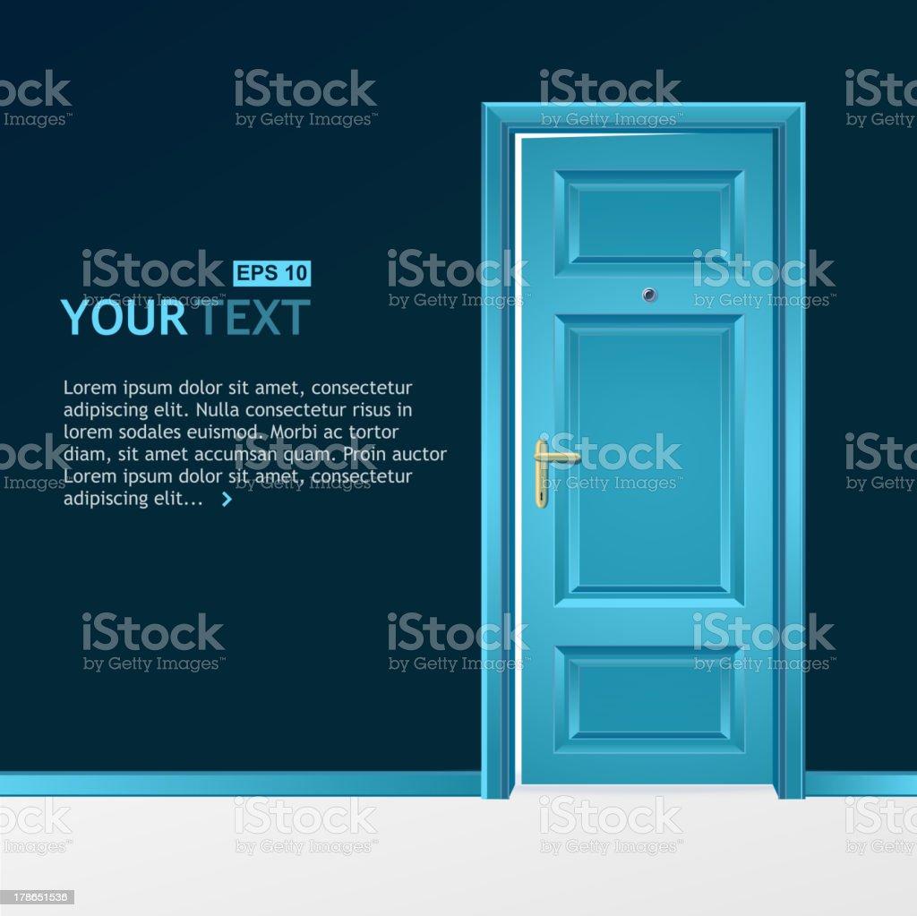 Blue door in the dark wall royalty-free stock vector art