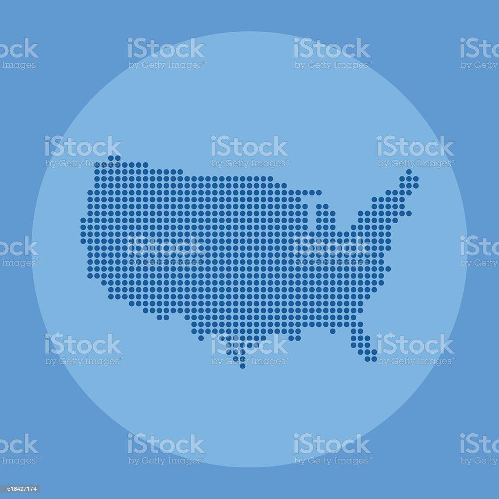 USA blue dot map made on blue circle background vector art illustration