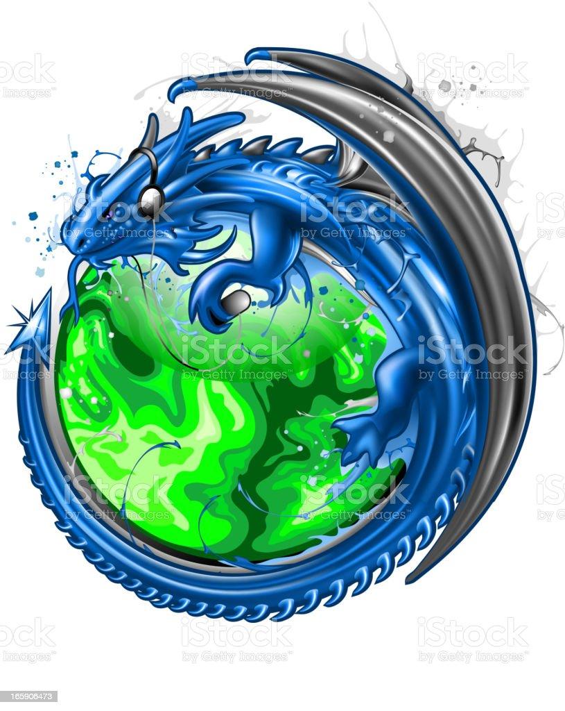 Blue dragon emblem vector art illustration