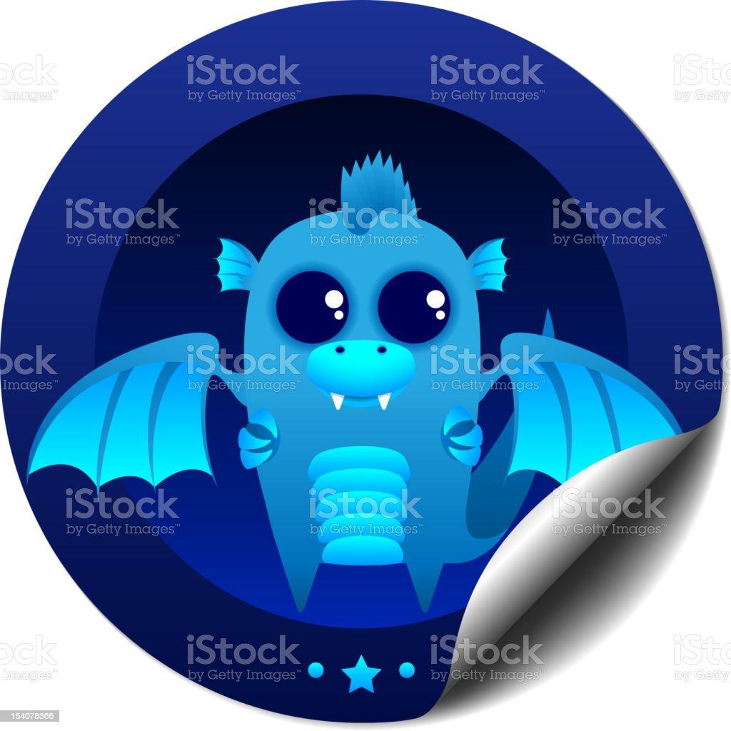 Blue dragon sticker vector art illustration