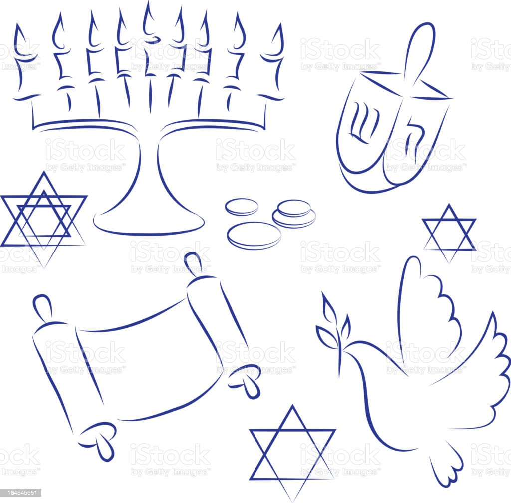 Blue drawings of things related to Hanukkah royalty-free stock vector art