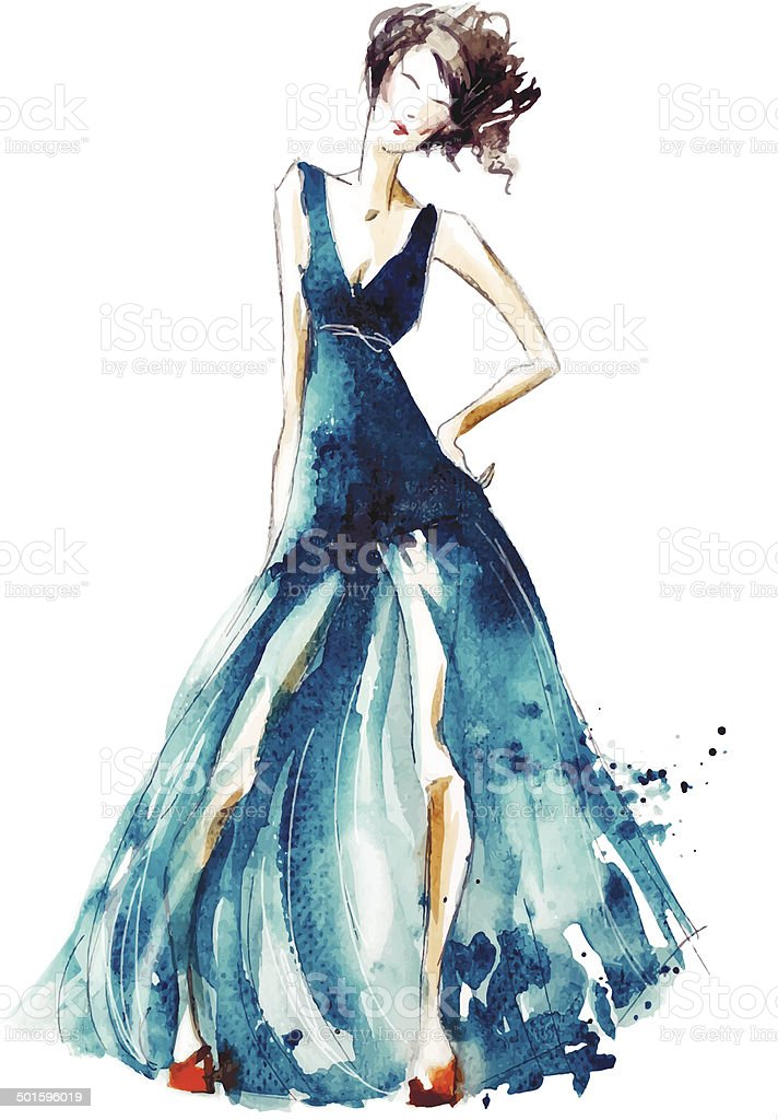 Blue dress fashion illustration, vector EPS 10 royalty-free stock vector art