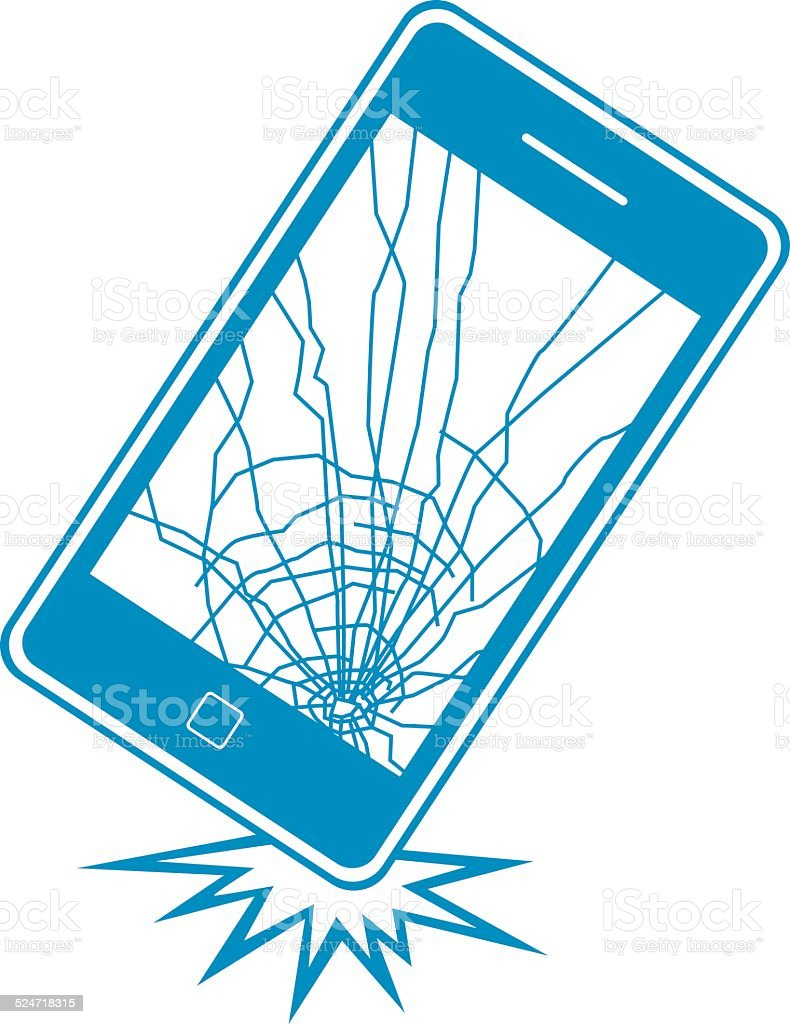 Blue Dropped Smart Phone vector art illustration