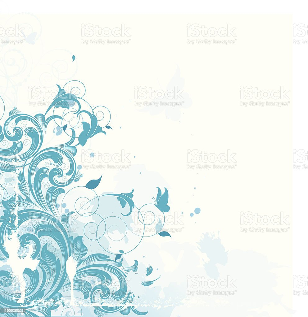 Blue Edge Scroll and Butterflies royalty-free stock vector art