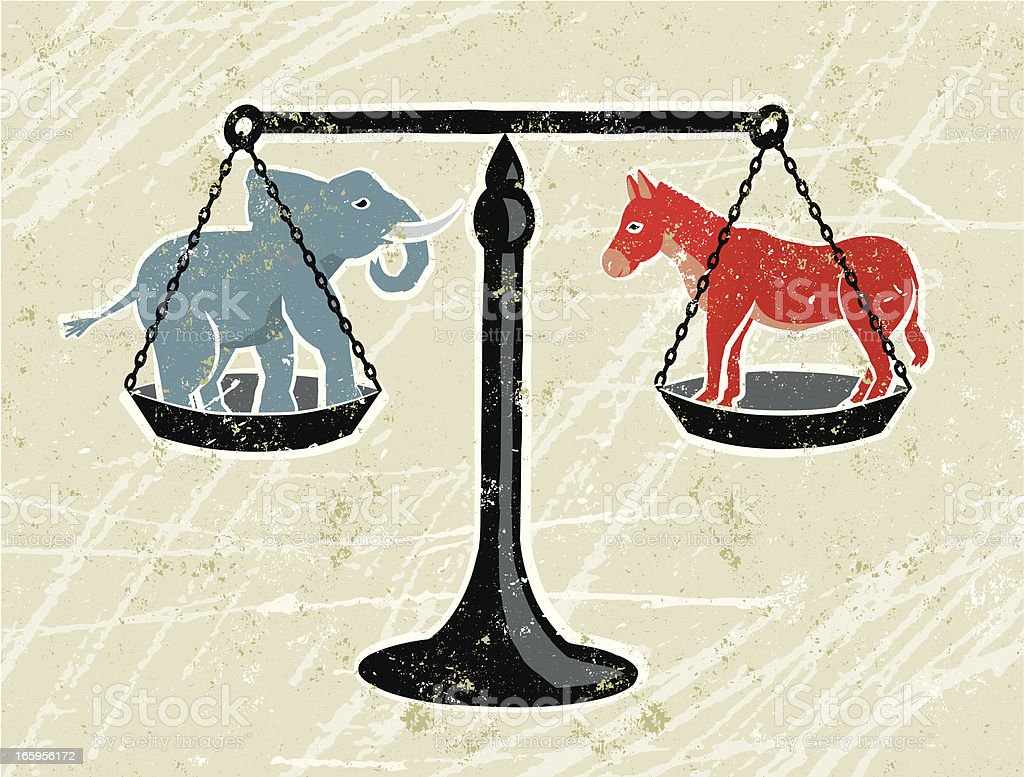 Blue Elephant and Red Donkey Being Weighed on Scales vector art illustration