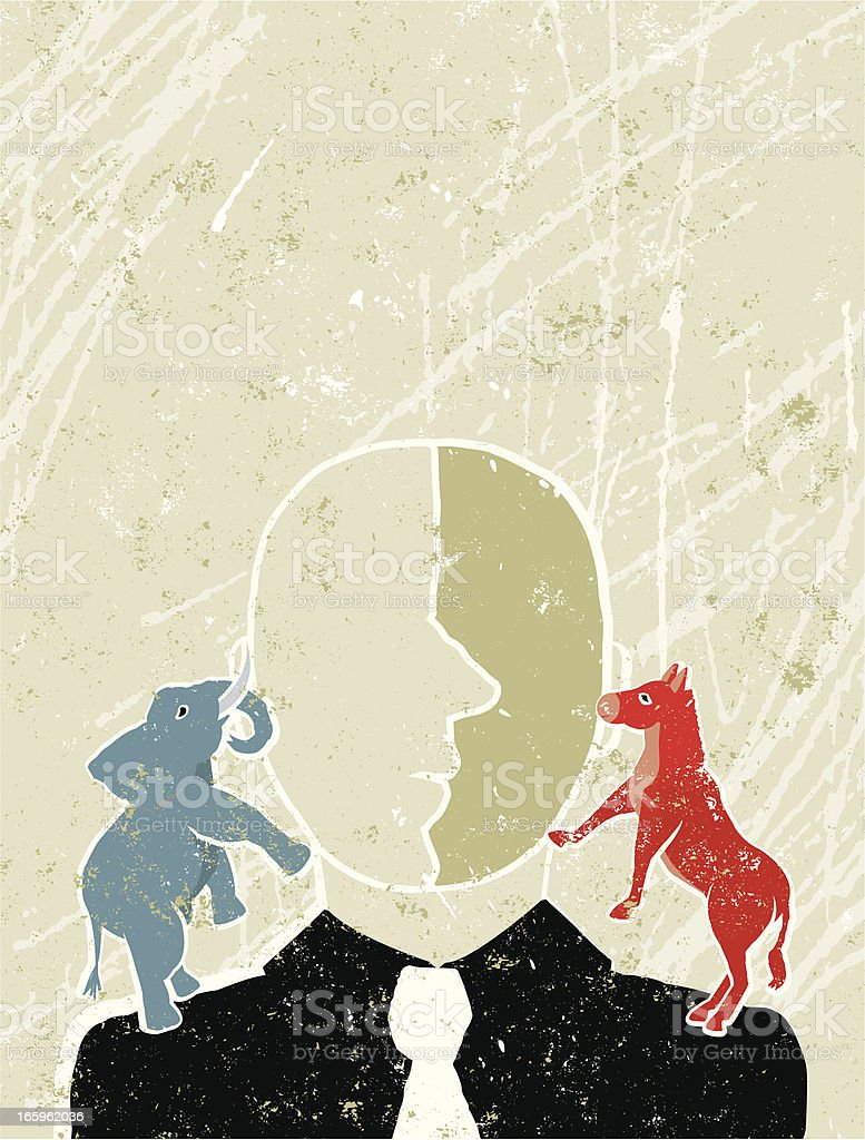 Blue Elephant and Red Donkey on a Man;s Shoulders vector art illustration