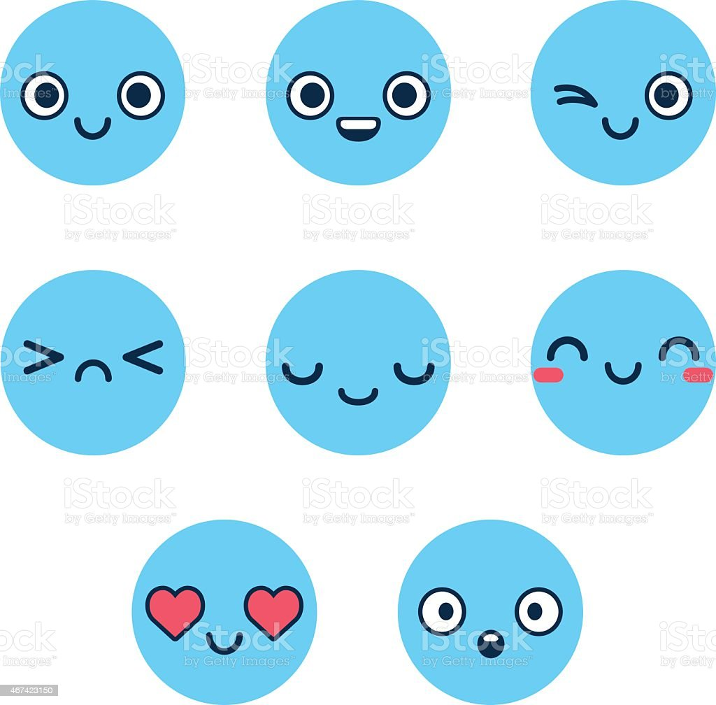 Blue emoticons vector art illustration