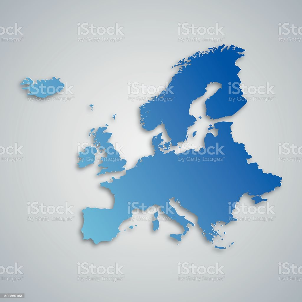 Blue Europe Map vector art illustration