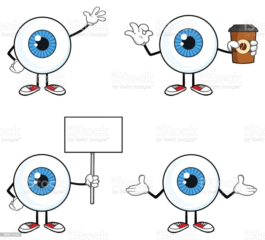 Blue Eyeball Guy Cartoon Mascot Character 2. Collection Set vector art illustration