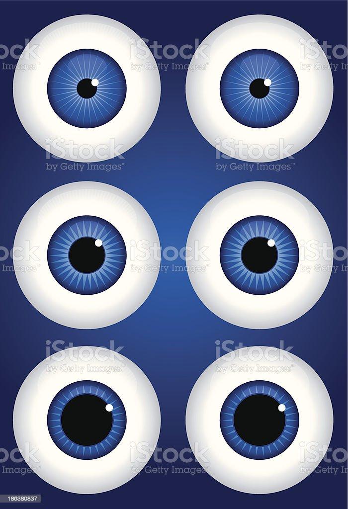 Blue Eyes Dialated vector art illustration