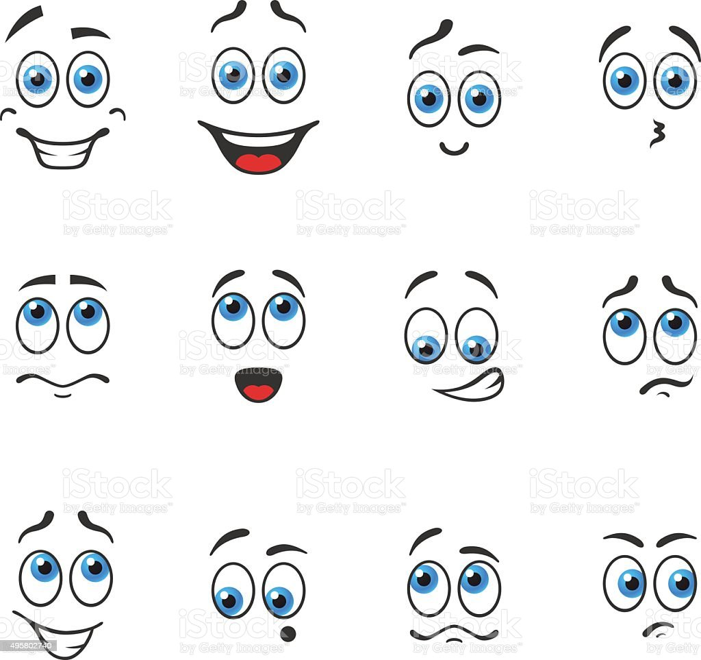Blue eyes in emotions vector art illustration