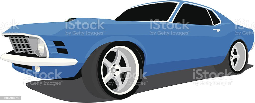 Blue Fastback Mustang vector art illustration