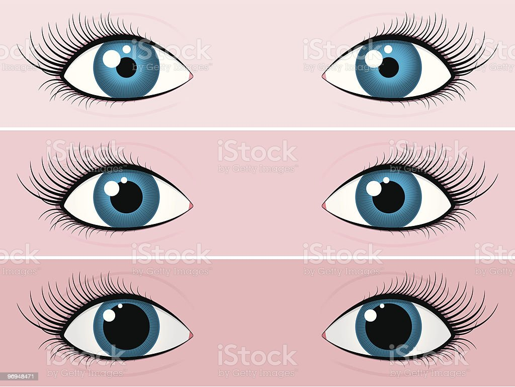 Blue female eyes - bright and dark royalty-free stock vector art