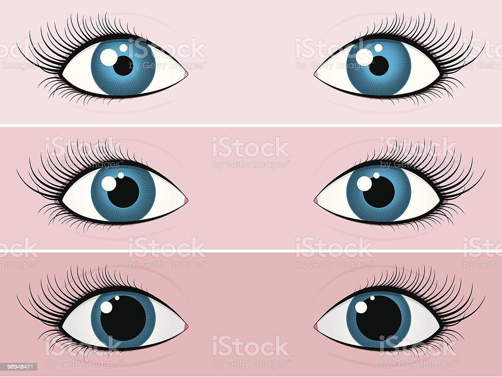 Blue female eyes - bright and dark royalty-free stock vector art