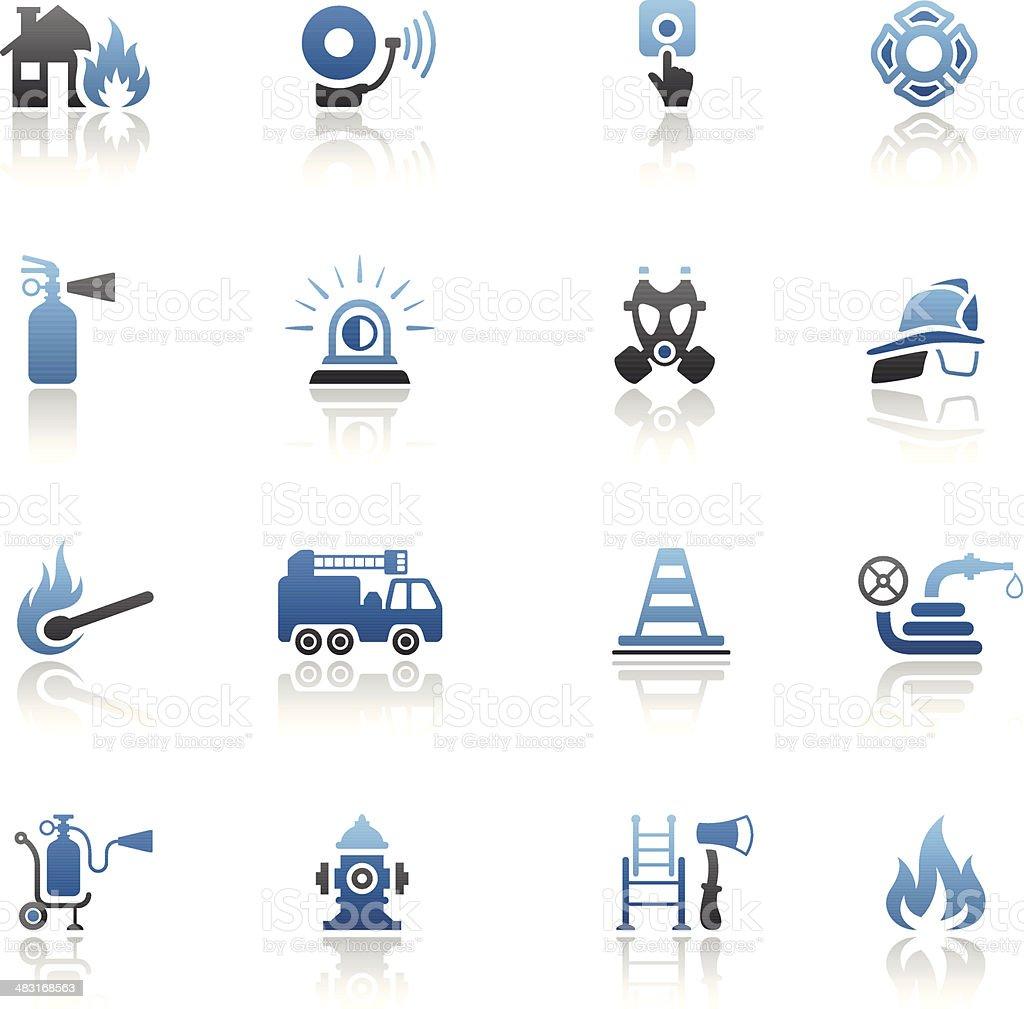 Blue Firefighter Icon Set vector art illustration