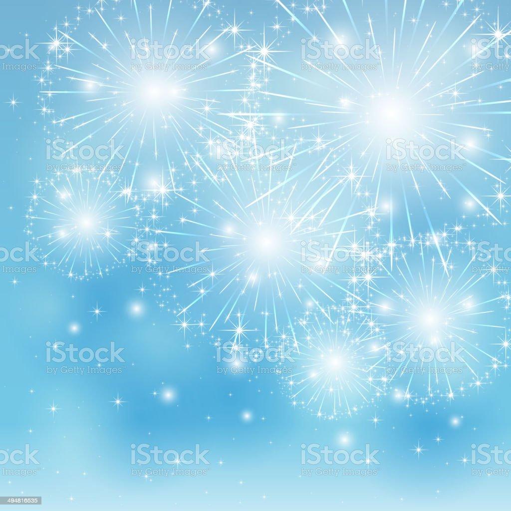 Blue fireworks background vector art illustration