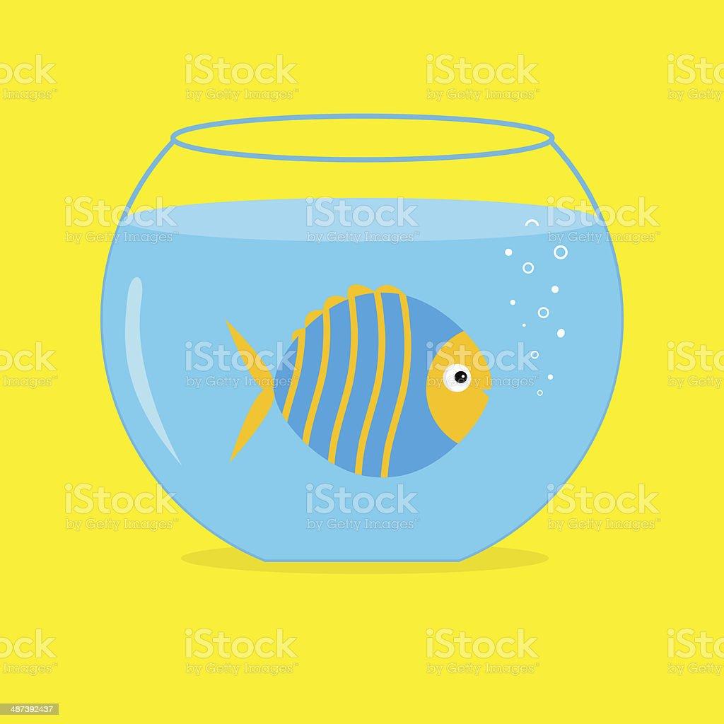 Blue fish in the aquarium. Card. royalty-free stock vector art