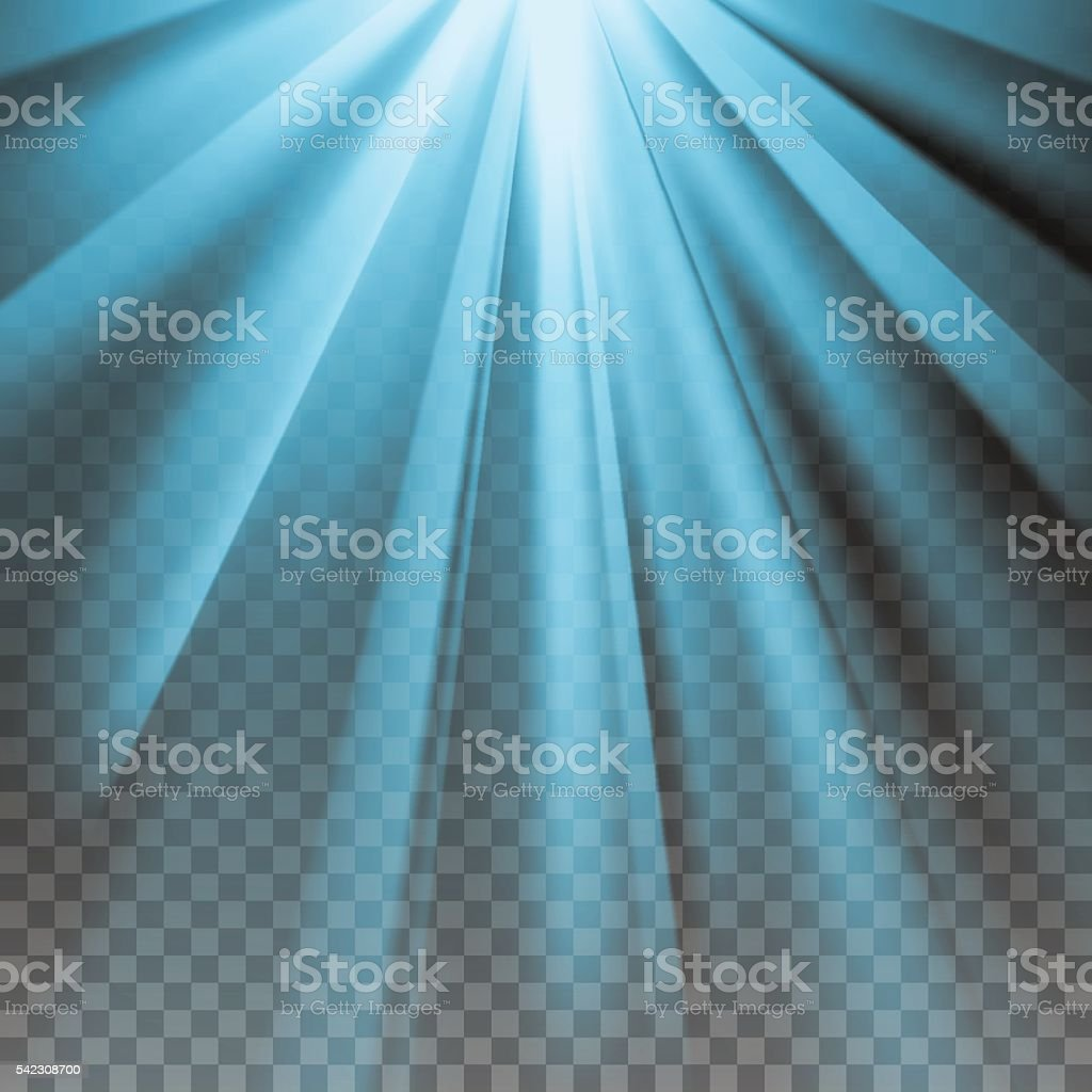 Blue flare rays vector art illustration