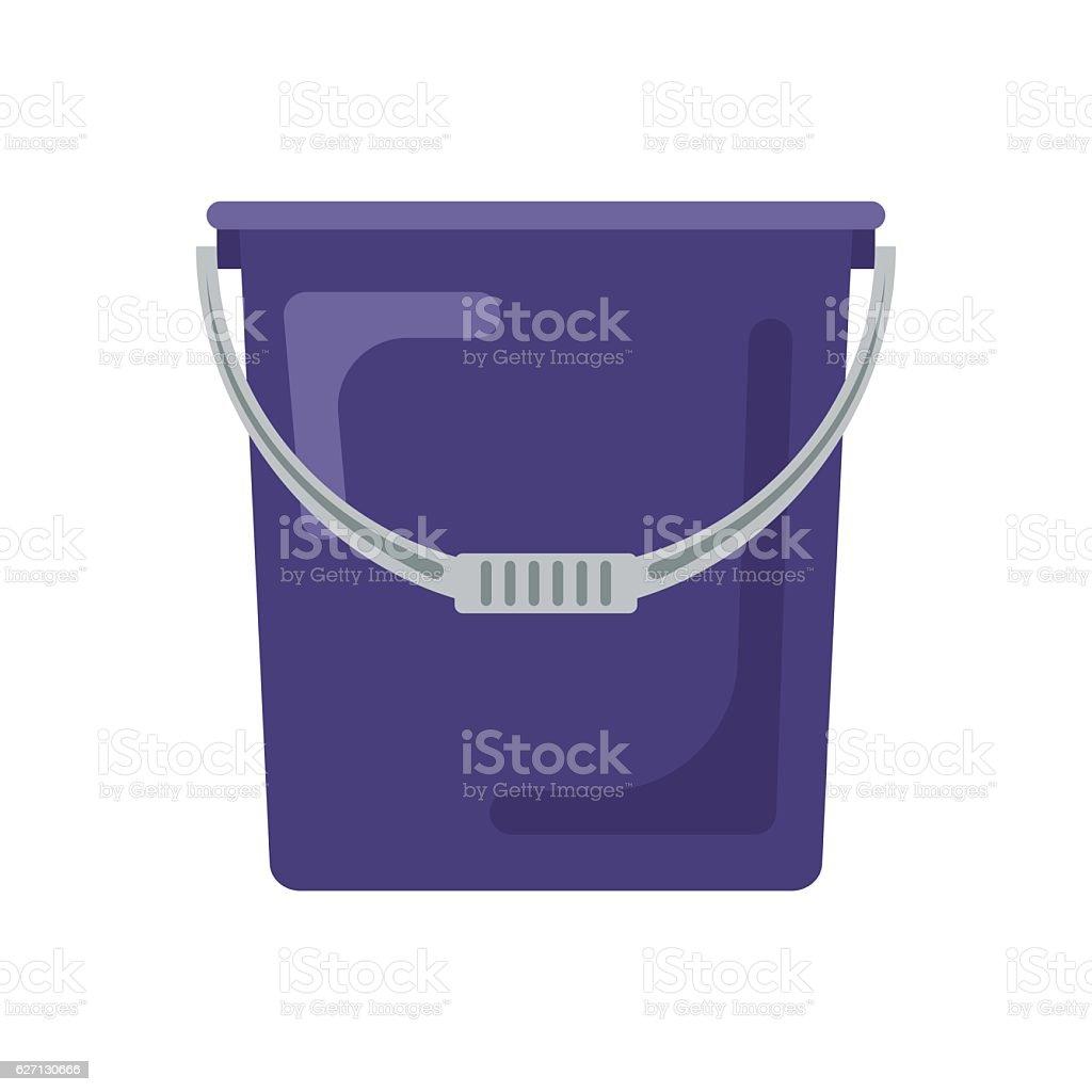 Blue flat empty bucket icon logo vector illustration. Container garden vector art illustration
