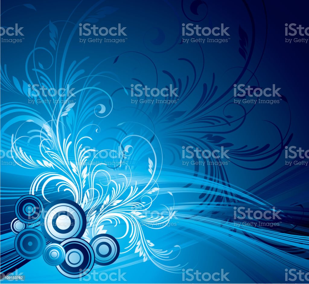 Blue floral abstract background royalty-free stock vector art