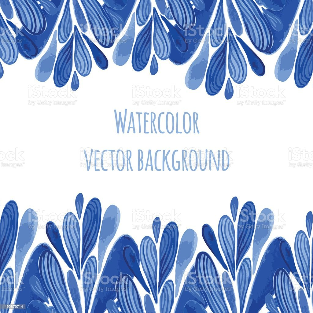 Blue floral border in russian or holland style. Vecor template vector art illustration