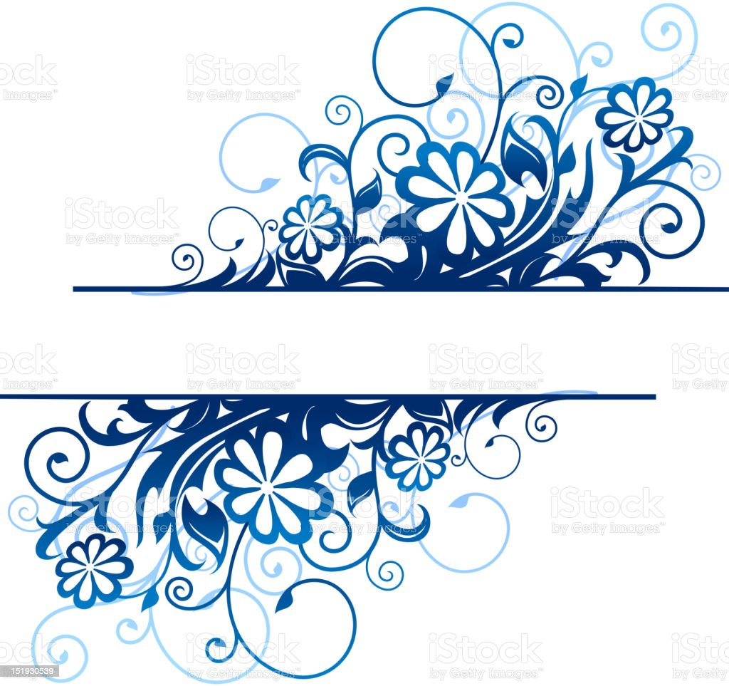Blue floral border royalty-free stock vector art