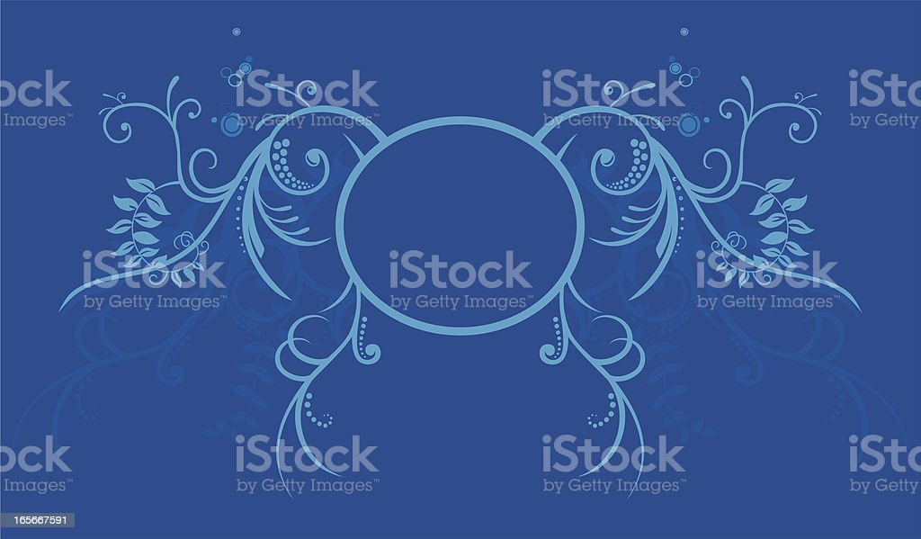 Blue Floral Crest royalty-free stock vector art