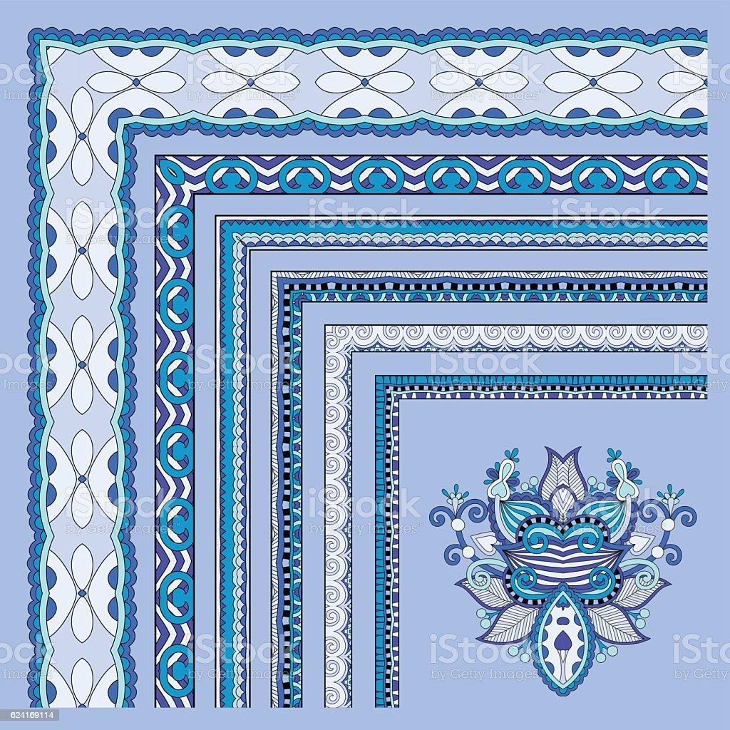 blue floral vintage frame design. vector illustration set vector art illustration