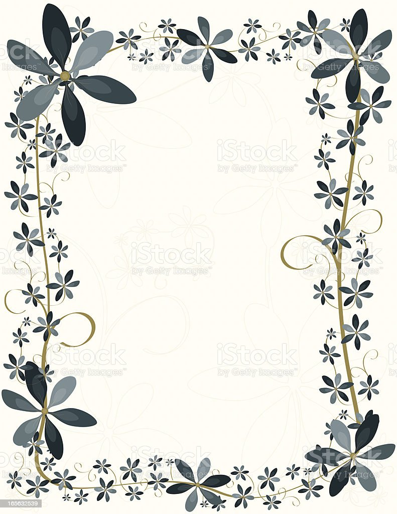 Blue Flower Border Design, Background royalty-free stock vector art
