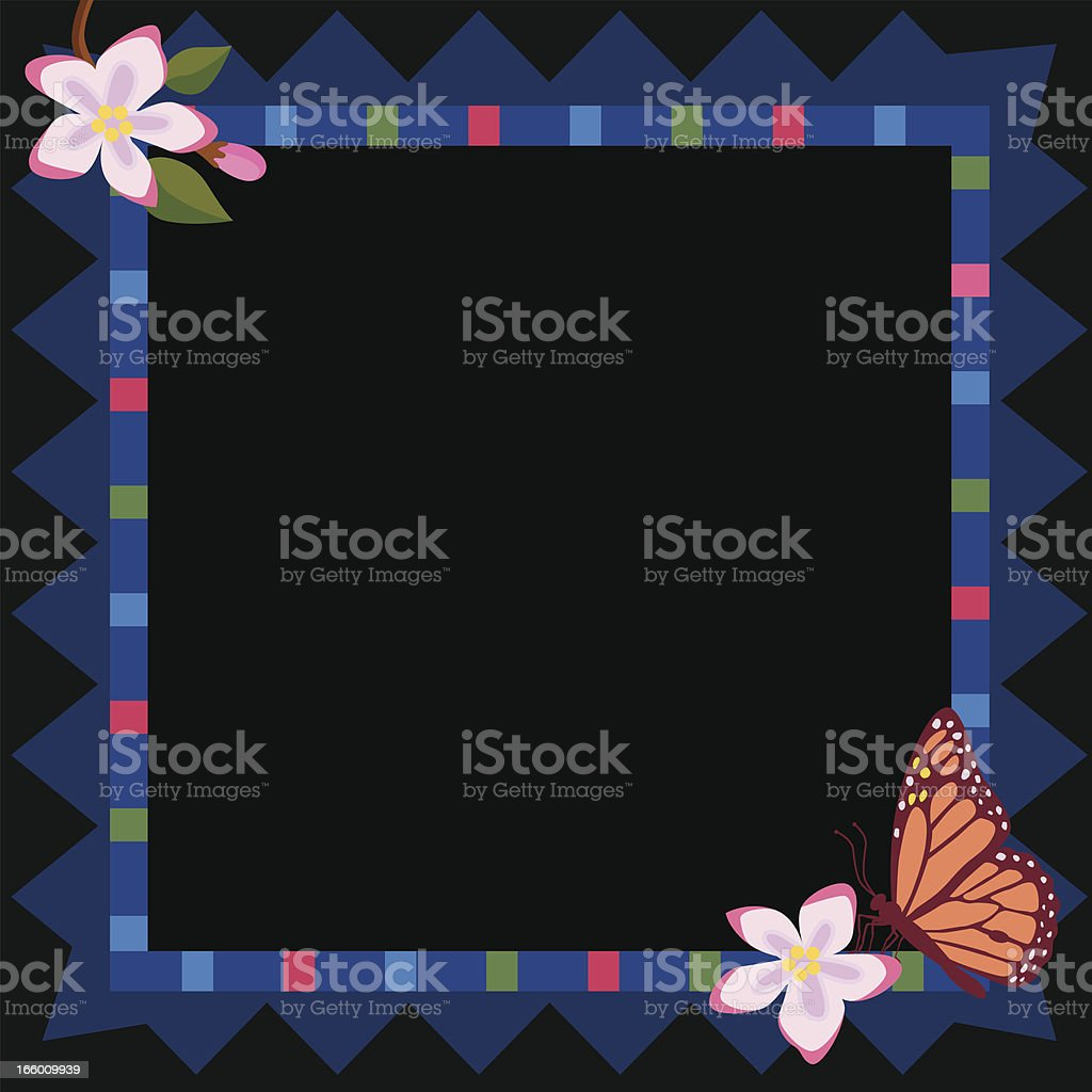 blue flower frame with copy space royalty-free stock vector art