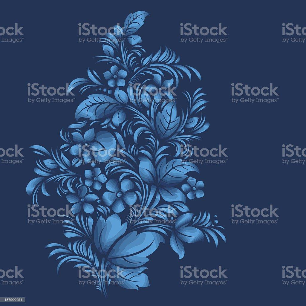 blue flor enfeites, gzhel estilo russo vetor e ilustração royalty-free royalty-free