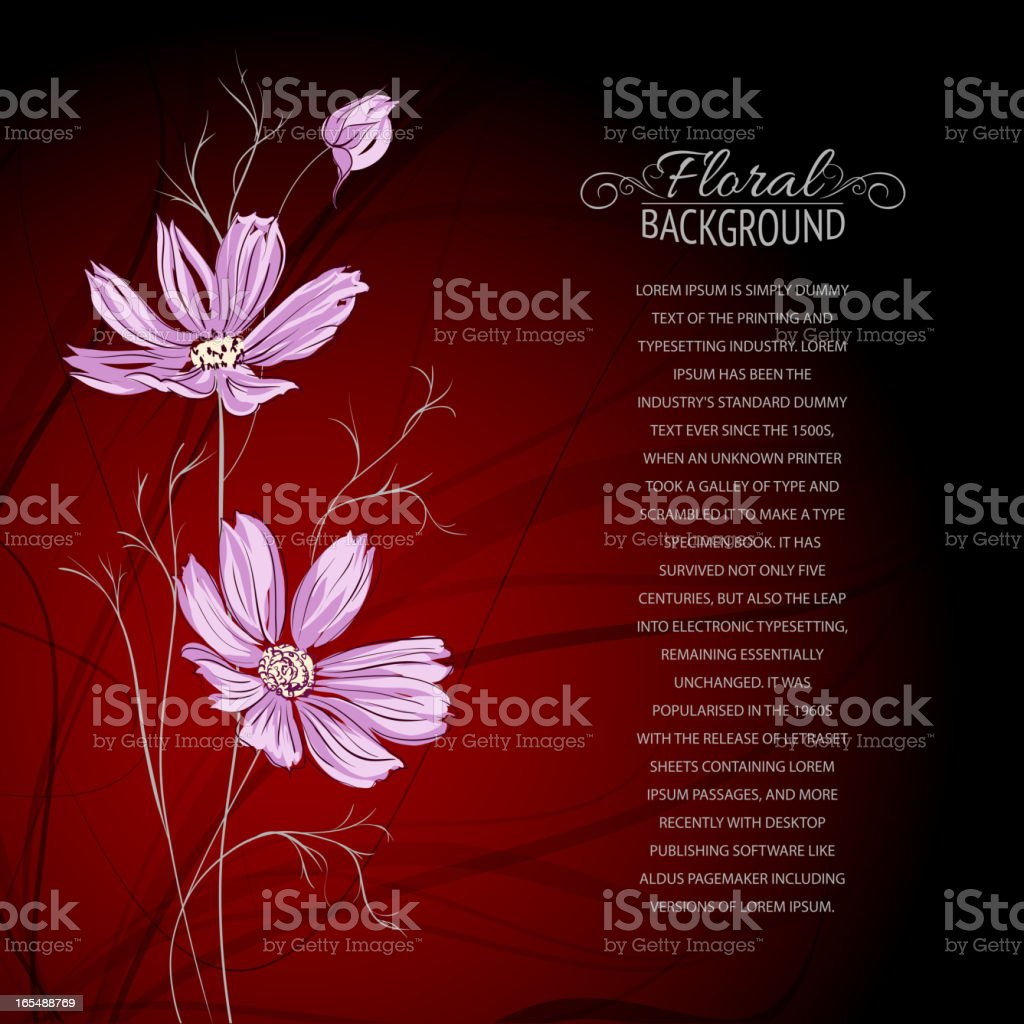 Blue flower over brown background. royalty-free stock vector art