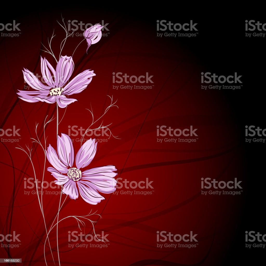 Blue flower over brown background royalty-free stock vector art
