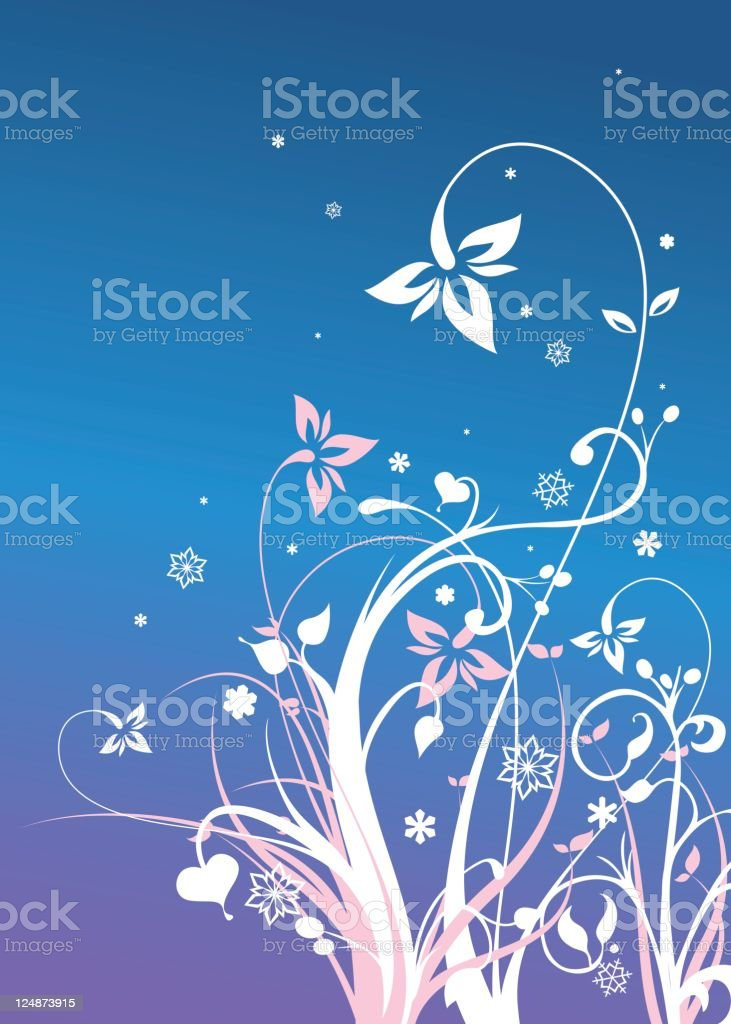 Blue Flowers Vector Floral Ornament Winter Background royalty-free stock vector art