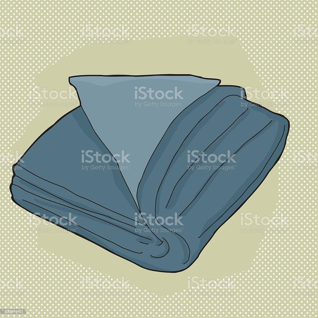 Blue Folded Towel vector art illustration
