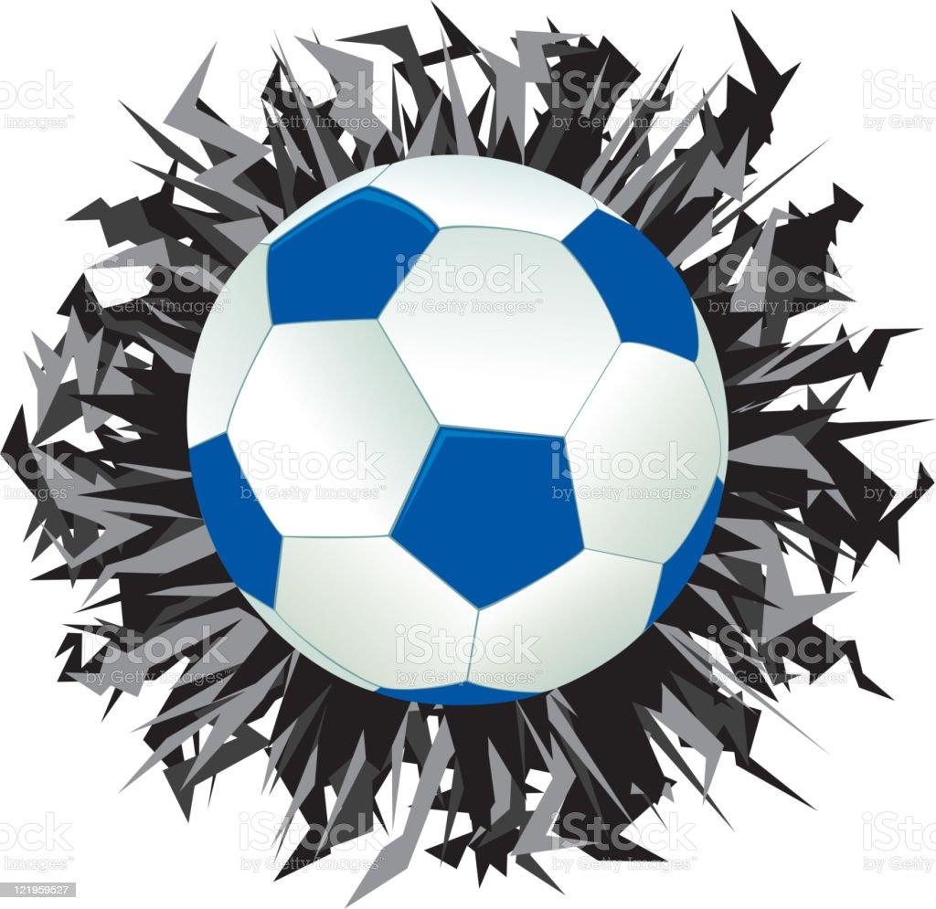 Blue Football, Soccer Ball in Burst royalty-free stock vector art
